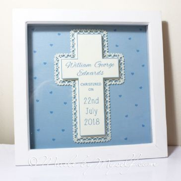 Personalised Christening Gift - Framed Cross - Boy